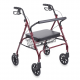Drive Medical Heavy-Duty Bariatric Rollator with LargePadded Seat and 8-Inch Wheels in Red